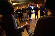 Traditional farose dance (f¯royskur dansur) in Gjaargardur Guesthouse. GjÛgv, Eysturoy, Faroe Islands