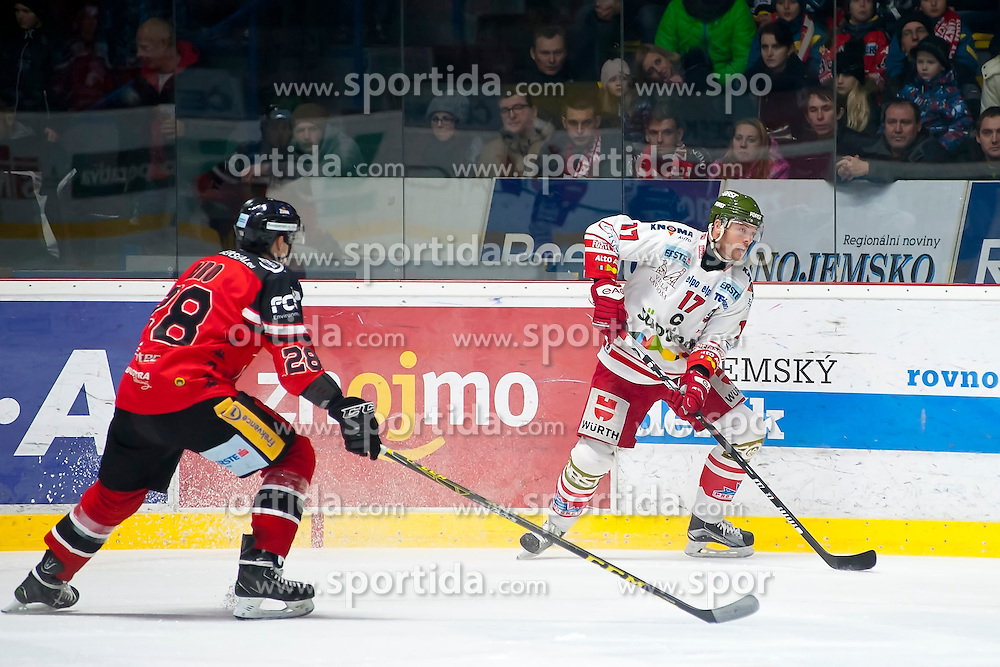 28.12.2015, Ice Rink, Znojmo, CZE, EBEL, HC Orli Znojmo vs HCB Suedtirol, 36. Runde, im Bild v.l. Marek Biro (HC Orli Znojmo) Alexander Egger (HCB Sudtirol) // during the Erste Bank Icehockey League 36nd round match between HC Orli Znojmo and HCB Suedtirol at the Ice Rink in Znojmo, Czech Republic on 2015/12/28. EXPA Pictures © 2015, PhotoCredit: EXPA/ Rostislav Pfeffer