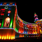 SHOT 11/27/2007 - The City and County Building in Denver, Co. lit up at night for the Christmas holiday season. During December and through the National Western Stock Show, this building, built in 1932, boasts one of the country's finest and largest illumination displays. More than five miles of electrical wire suspend over 20,000 lights over the building's facade. The building is located at 1437 Bannock St. in Denver, CO and is home to the many of the city's government offices..(Photo by Marc Piscotty/ © 2007)