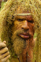 Man wearing hanging lichen (spanish moss?) headdress..Goroka, Eastern Highlands Province, Papua New Guinea.