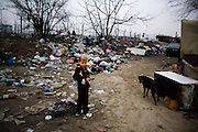 A young boy in a suit plays in the New Belgrade settlement of Belville.