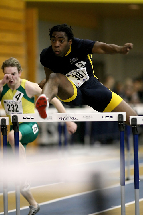 Windsor, Ontario ---12/03/09--- Jamie Adjetey-Nelson of  the University of Windsor competes in the Men's Pentathlon 60m Hurdles at the CIS track and field championships in Windsor, Ontario, March 12, 2009..Sean Burges Mundo Sport Images