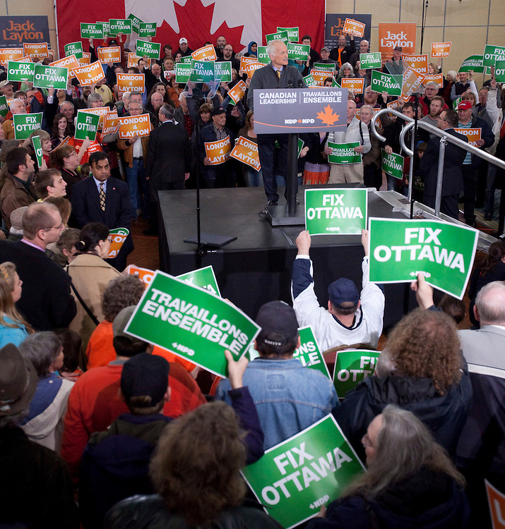 London, ONT.; April 4, 2011--  NDP leader Jack Layton speaks to supporters at a rally in London, Ontario, April 4, 2011.<br /> <br /> (GEOFF ROBINS/ Postmedia News)