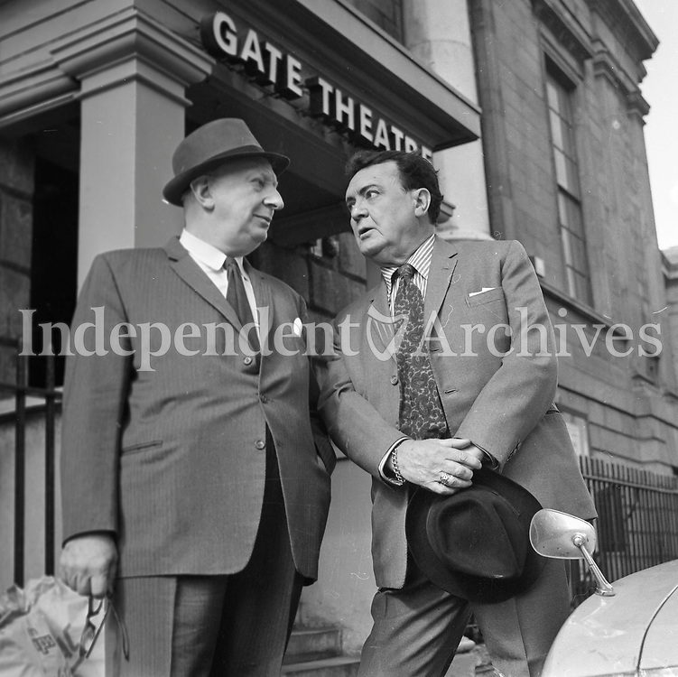 (Misc. Box 27 - 972-257)<br /> Hilton Edwards and Miche&aacute;l Mac Liamm&oacute;ir outside The Gate Theatre which they founded in 1928. They initially used The Abbey's Peacock Theatre space but later moved to 1 Cavendish Row, outside of which, they stand in this picture. (Part of the Independent Newspapers Ireland/NLI Collection)