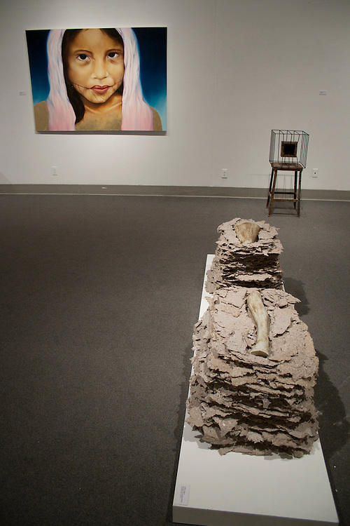 Caitlin Hettich<br /> Beneath Removable Stones<br /> Handmade paper, ceramics (foreground of install photo)