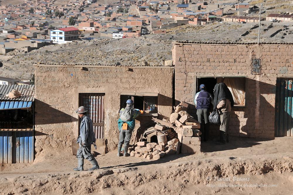 Miners taking a break at the Cerro Rico silver mine, Potosi, Bolivia