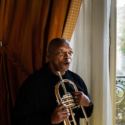 Jazzman Hugh Masekela from the Republic of South Africa at the South African Embassy in Paris, France. December 4, 2009. Photo: Antoine Doyen for Vibrations