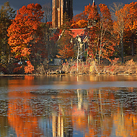 Wellesley College, showing its iconic Galen Stone Tower and the William S. Houghton Memorial Chapel on a beautiful afternoon in late New England fall. Autumn foliage colors and the historic building are reflected in a calm Lake Waban. Wellesley College is a private, women's, liberal-arts college located in the town of Wellesley, Massachusetts and it is ranked the third best liberal arts college in the United States. Notable alumnae include Hillary Clinton, Madeleine Albright, Soong Mei-ling, Cokie Roberts, and Diane Sawyer. It&rsquo;s most famous student is Hillary Rodham Clinton, Class of 1969. Hillary Rodham Clinton is currently running for president of the United States aiming to make history and becoming the first female US president. <br />