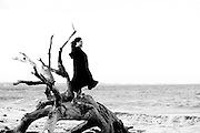 The Sea Witch standing atop of a dead driftwood tree, preparing to summon the power of the sea on a remote beach, Jekyll Island Georgia. Black and white photo.
