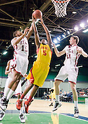 Jordan Adams #5 Oak Hill academy drives inside