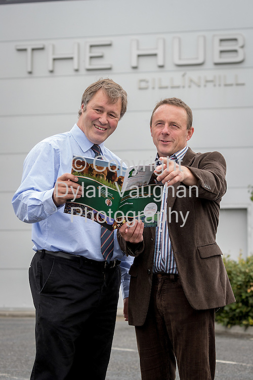 Repro Free No Charge for Repro<br /> <br /> 10-8-16<br />  <br /> <br /> International Limousin Congress Ireland 2016<br /> <br /> Paul Sykes, CEO Irish Limousin Cattle Society  discussing details of the upcoming National Limousin Show at the HUB Cillin Hill , Kilkenny on Friday 26th August with Michael Lynch CEO Cillin Hill Agri Park, Kilkenny -  one of the highlights of the International Congress in Ireland from Sat 20th &ndash; Sun 28th August &ndash; more info     www.ILC2016.com<br /> <br /> Picture Dylan Vaughan