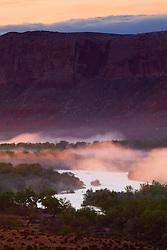 Early morning fog rises above the San Juan River near Bluff, Utah.
