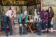 19/07/2012. London, UK.  On July 20th Priceless London Wonderground on the Southbank expands to include sideshows, fairground rides, a bandstand and a museum of weird and wonderful creatures, along with a magnificent 1920's Spiegeltent. Picture shows: The Royal Family of Strange People.