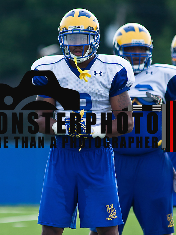 Delaware defensive back Marcus Burley focuses intensely during practice Tuesday, August 7, 2012, at Delaware practice field in Newark Delaware...The University of Delaware Football team was Picked No. 13 in College Sporting News Pre-Season Top 25 FCS Poll.