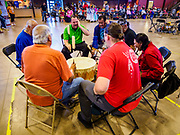 06 MAY 2017 - ST. PAUL, MN: Native American drummers perform at the 6th Annual Powwow for Hope at Ft. Snelling in St. Paul. The powwow was a fundraiser to support cancer education and supportive services for American Indian communities. Proceeds benefited the American Indian Cancer Foundation's work to eliminate cancer burdens on American Indian families. Cancer is the leading cause of death in Native American communities, exceeding coronary disease and diabetes.       PHOTO BY JACK KURTZ