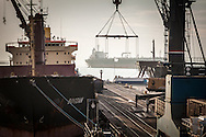 Industrial scene. Ships in the Russian Black Sea port of Novorossiysk