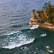 &quot;Windy Day at Miners Castle&quot;<br /> <br /> An amazing view of Miners Castle in Michigan's Upper Peninsula on a very windy autumn day! Waves were rolling in and crashing against the rock formations!