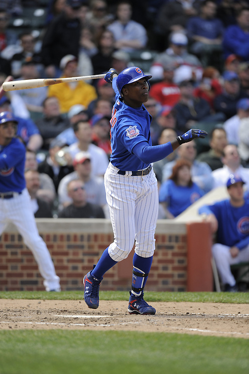 CHICAGO - APRIL 23:  Alfonso Soriano #12 of the Chicago Cubs bats against the Cincinnati Reds on April 23, 2009 at Wrigley Field in Chicago, Illinois.  The Reds defeated the Cubs 7-1.  (Photo by Ron Vesely)
