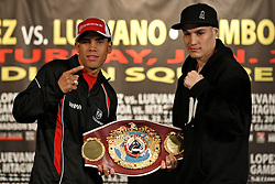 Jan 21, 2010; New York, NY; USA;  Challenger Juan Manuel Lopez (l) and WBO Champion Steven Luevano (r) pose after the final press conference for their fight.  The two will meet on January 23, 2010 at the Theater at Madison Square Garden.