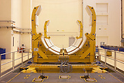 Ariane 5 rocket booster cradle in Europropulsion's Booster Integration Building at European Space Agency, Kourou..