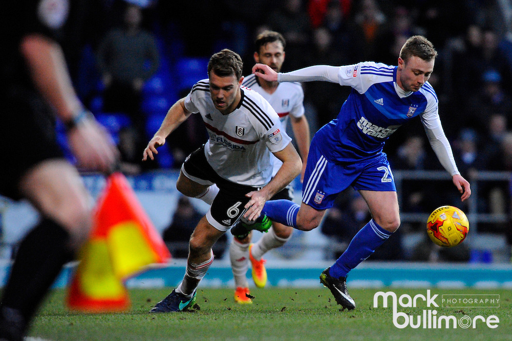Ipswich, Suffolk. Football action from Ipswich Town v Fulham at Portman Road in the Sky Bet Championship on the 26th December 2016. Ipswich Freddie Sears and Fulham's Kevin McDonald.<br /> <br /> Picture: MARK BULLIMORE