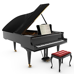 A beautiful classic grand pianio, Isolated on white.
