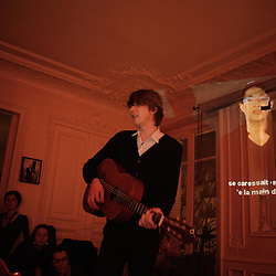 "Jeremy Jay (US) opening for The Walkmen at the ""Soiree de poche #7"" (pocket night #7): a concert happening in an appartment in Paris, boulevard Magenta near Gare de l'Est. Organised by La Blogotheque.. .Feb. 2009, 11th / photo: Antoine Doyen"