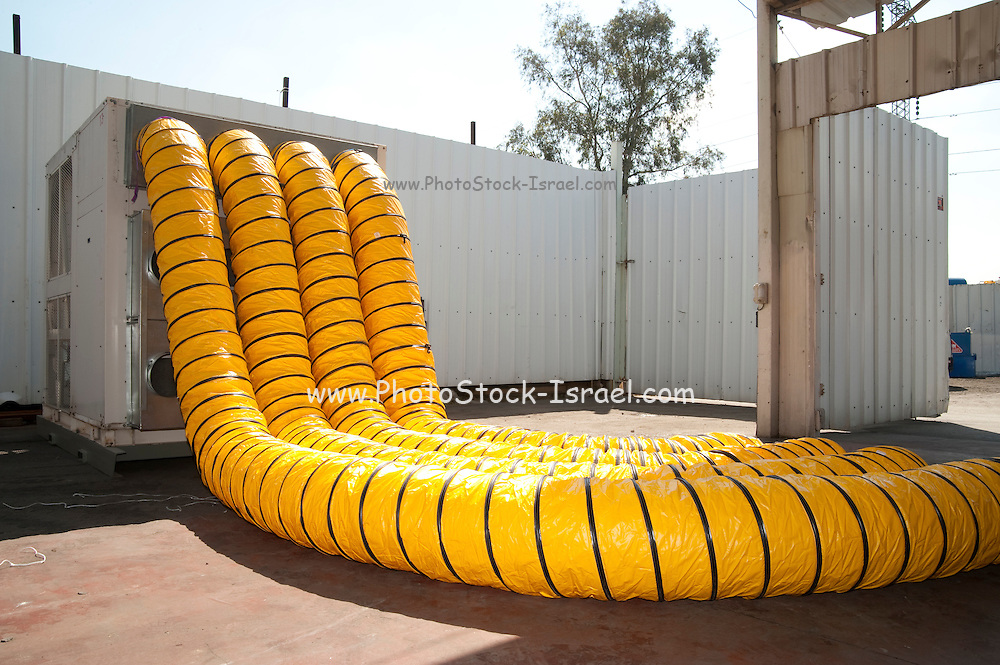 Yellow Air tubes from an air compressor