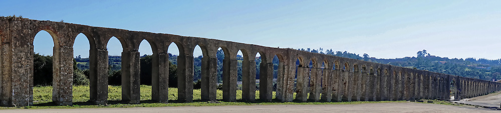A section of the ancient Roman aqueduct that supplied water to the Portuguese town of Obidos.