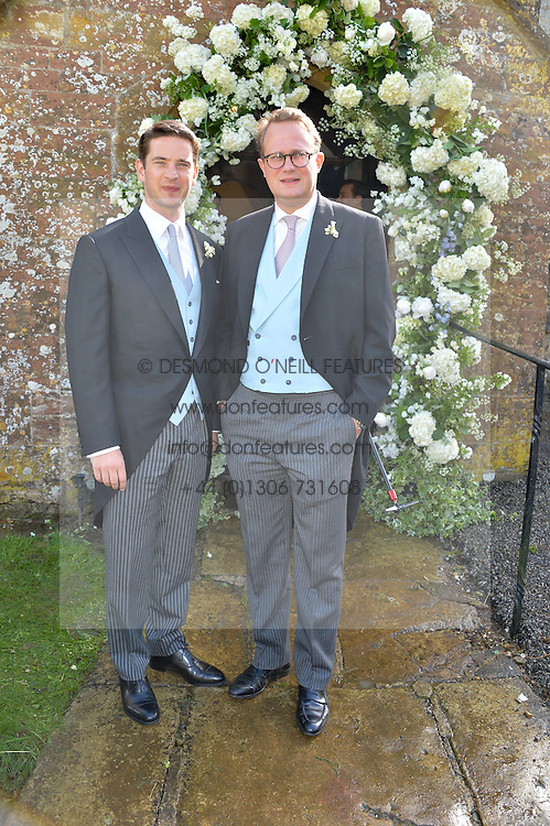 Left to right, the Groom the HON.JAMES TOLLEMACHE and his best Man TIM HAY at the wedding of Princess Florence von Preussen second daughter of Prince Nicholas von Preussen to the Hon.James Tollemache youngest son of the 5th Lord Tollemache held at the Church of St.Michael & All Angels, East Coker, Somerset on 10th May 2014.