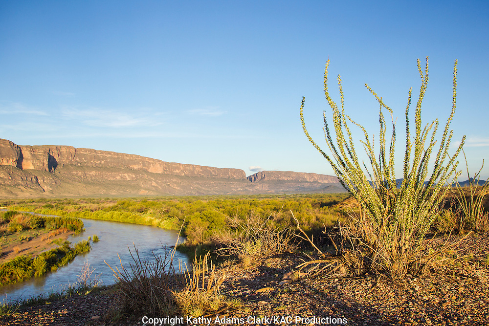 View of the Rio Grande river at Big Bend National Park, Texas in late summer.