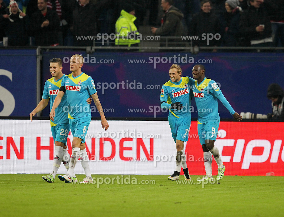 31.01.2015, Imtech Arena, Hamburg, GER, 1. FBL, Hamburger SV vs 1. FC K&ouml;ln, 18. Runde, im Bild Marcel Risse (Mittelfeld / K&circ;ln / n7) erzielt das Tor zur 2:0 F&cedil;hrung / Fuehrung. beim Torjubel / Jubel. Anthony Ujah (Angriff / K&circ;ln / n9), // during the German Bundesliga 18th round match between Hamburger SV and 1. FC Cologne at the Imtech Arena in Hamburg, Germany on 2015/01/31. EXPA Pictures &copy; 2015, PhotoCredit: EXPA/ Eibner-Pressefoto/ Damm<br /> <br /> *****ATTENTION - OUT of GER*****