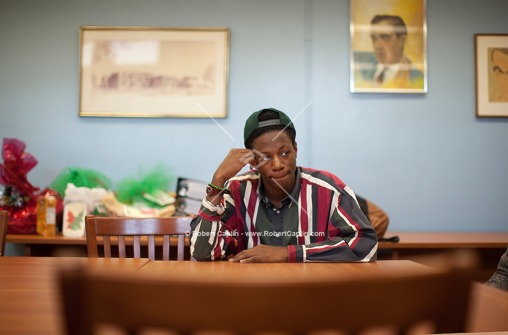 Breaking new Brooklyn rapper, Joey BadA$$ at his High School, Edward R. Murrow High School, in Brooklyn, NY...Photo by Robert Caplin.