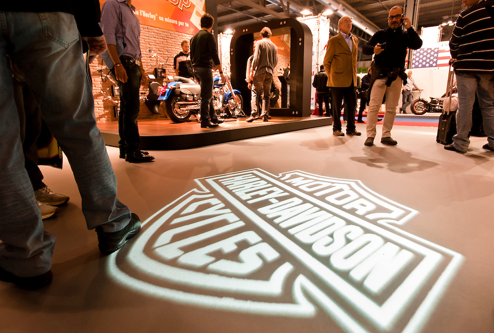 MILAN, NOVEMBER 3: Harley Davidson stand at EICMA, 68th International Bicycle and motorcycle Exhibition in Milan Fair, November 2nd - 7th, 2010