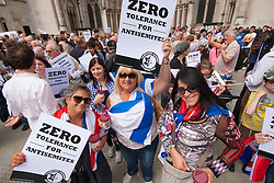 """Royal Courts of Justice, London,  August 31st 2014. Thousands of Jews and their supporters from London and across the UK demand """"Zero Tolerance for Antisemites"""", organised by the Campaign Against Antisemitism."""