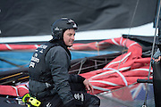Emirates Team New Zealand's Richard Meacham sailing on the AC72 on the Hauraki Gulf on the second day of sailing. 3/8/2012