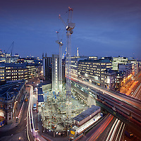 Sixty London, construction site, Holborn Viaduct, Night, colour, square