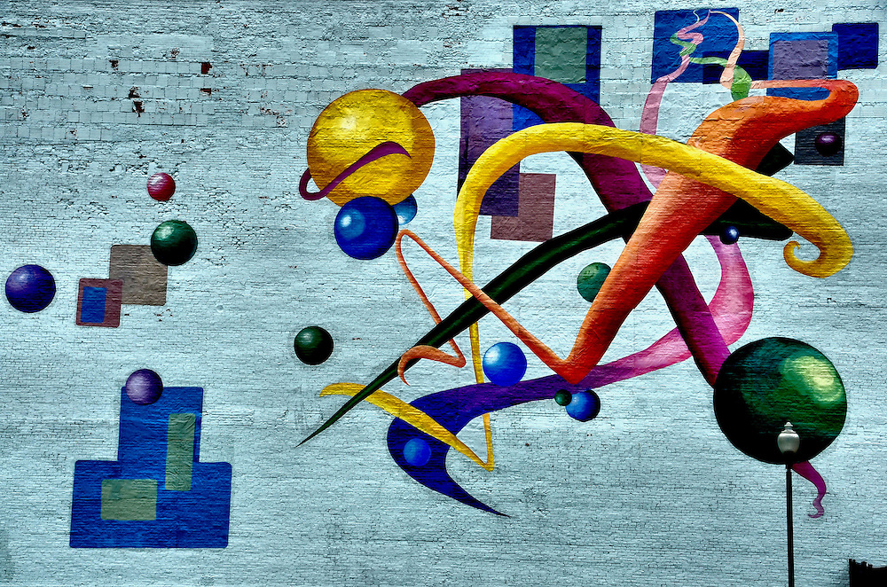 Colorful Abstract Figures Mural Called Stage Left in Lock ...