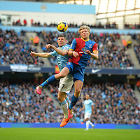 Football - Manchester City v Crystal Palace - Barclays Premier League - Etihad Stadium - 28/12/13 Crytsal Palace's Jonathan Parr and Manchester City's James Milner (L) in action Mandatory Credit: Action Images / Paul Currie Livepic EDITORIAL USE ONLY