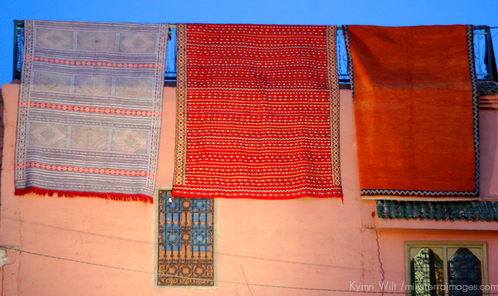 North Africa, Africa, Morocco, Marrakesh. Traditional Moroccan carpets displayed at the Djeema el Fna.
