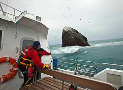 Crew on board the Orca 3, at Nick Hancock's reconnaissance mission for a future 60 day occupation of Rockall, an extremely small, uninhabited, remote rocky islet in the North Atlantic Ocean. .The Rockall Jubilee Expedition, a unique endurance expedition to be undertaken by Nick, in order to raise funds for Help for Heroes.