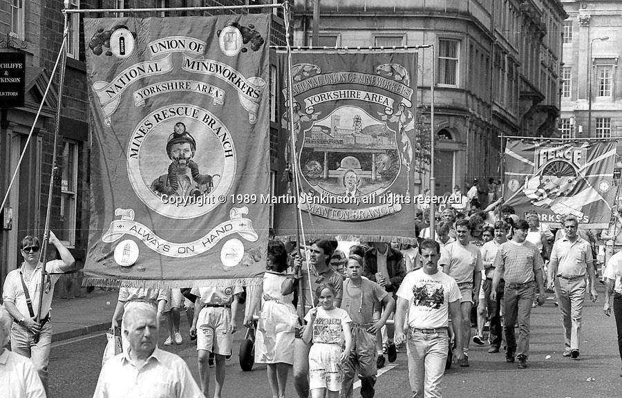 Mines Rescue and Manton  Branch banners. NUM Centenary Demonstration and Gala, Barnsley.