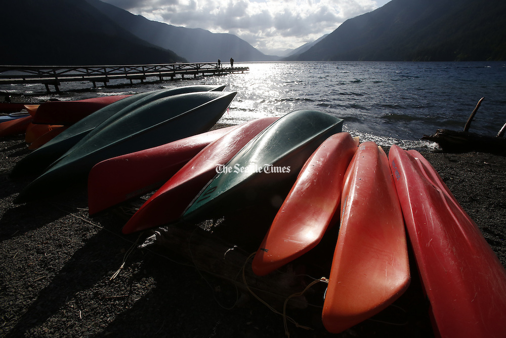 Canoes can be rented on Lake Crescent in the Olympic National Park.  Motorized craft are not allowed. (Alan Berner / The Seattle Times)