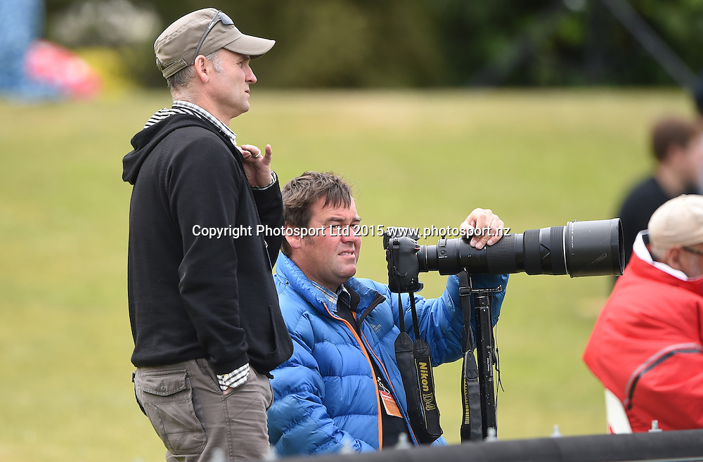 Journalist Arian Seconi and photographer Gerard O'Brien from the Otago Daily Times during play on day 5 of the 1st cricket test match between New Zealand Black Caps and Sri Lanka at University Oval, Dunedin, New Zealand. Monday 14 December 2015. Copyright photo: Andrew Cornaga / www.photosport.nz