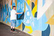 Justus Roe paints a wall under Chicago's Kennedy Expressway, which is his largest mural to date.