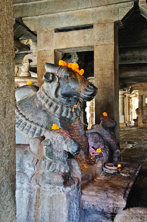 The Bhoganandishwara Temple was built during the Chola Dynasty and contains stone Nandi statues and carvings.
