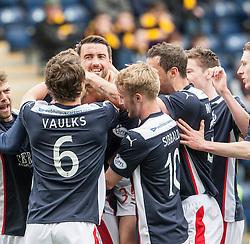 Falkirk players cele Mark Beck scoring their goal.<br /> Half time : Falkirk 1 v 1 Alloa Athletic, Scottish Championship game played today at The Falkirk Stadium.<br /> &copy; Michael Schofield.