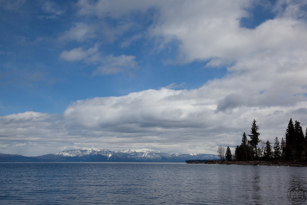 """Lake Tahoe 6"" - This cloudy scene was photographed from the West shore of Lake Tahoe."