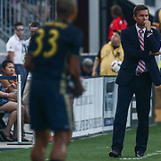 New York Red Bulls Manager JESSE MARSCH, right, watches the game from the sideline in the first half of a Major League Soccer match between the Philadelphia Union and New York Red Bulls Sunday, July. 17, 2016 at Talen Energy Stadium in Chester, PA.