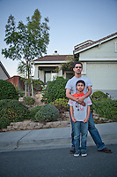 Eleven year old, Caleb Rodriquez, with his father, Edwardo, Oak Hills, Pittsburg, CA